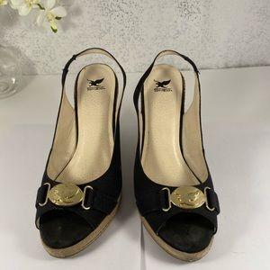 Shiekh Black & Tan Wedge Sandal - Size 9